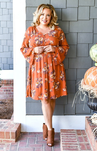 From The Heart Floral Dress - Orange