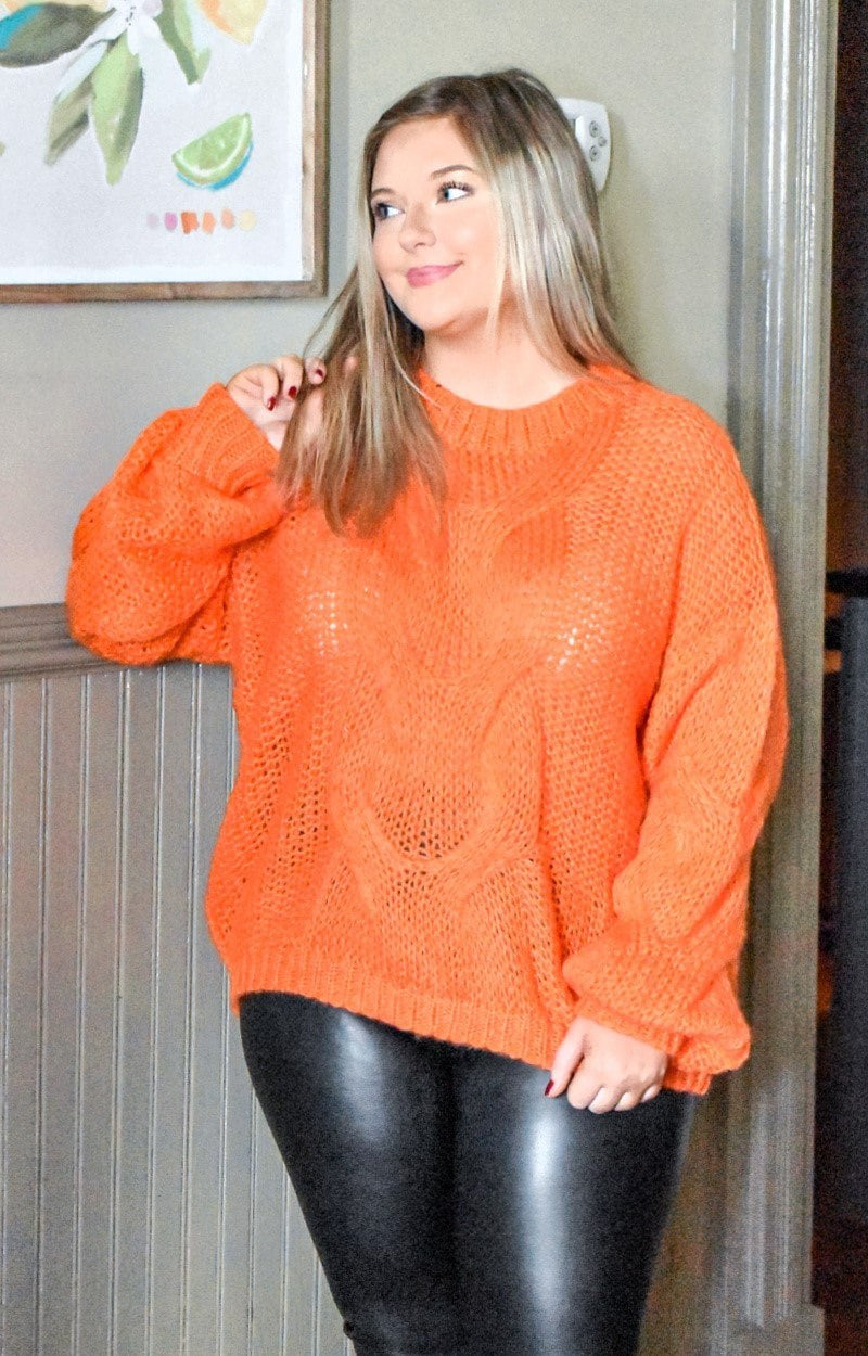 Talk Me Into It Oversized Sweater - Tangerine