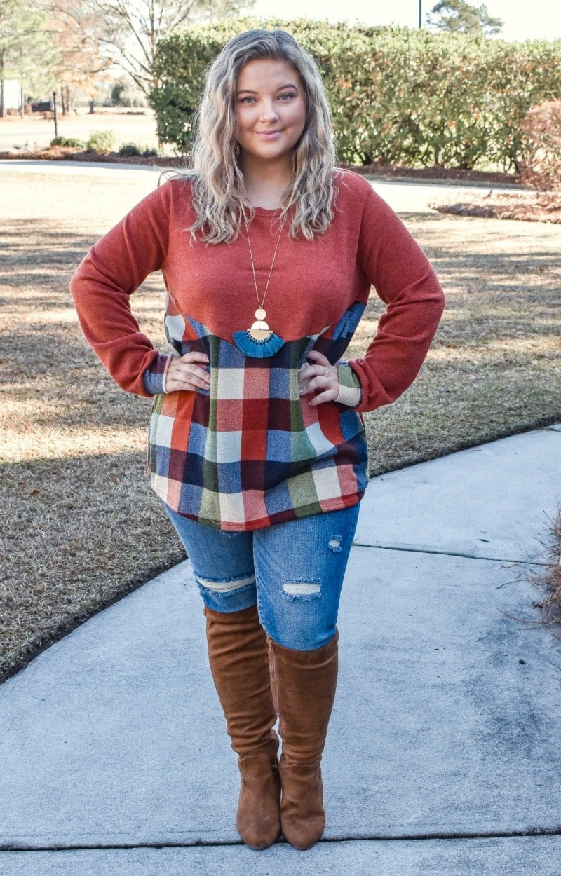 Load image into Gallery viewer, Cut Me In Plaid Top - Rust