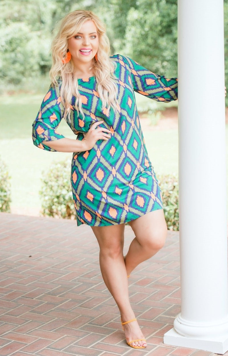 Load image into Gallery viewer, Set The Tone Print Dress - Green