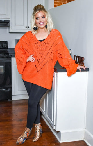 Stuck With Me Oversized Sweater - Tangerine