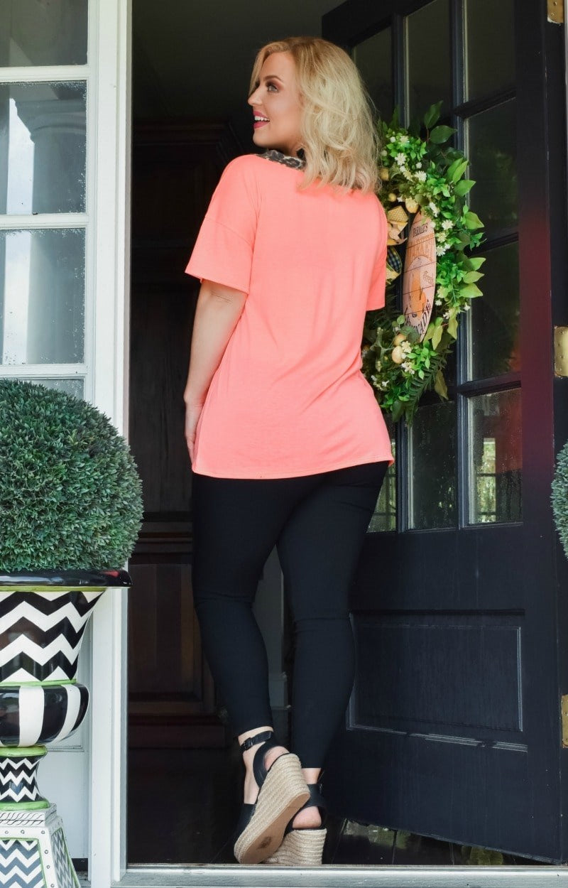 A Little Charmed Leopard Print Top - Neon Coral