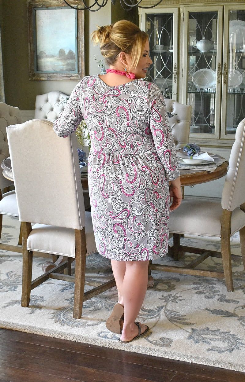 Load image into Gallery viewer, Tell You Later Print Dress - Gray/Pink
