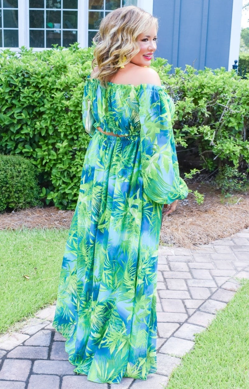 Load image into Gallery viewer, Cabana Bound Tropical Print Maxi Dress