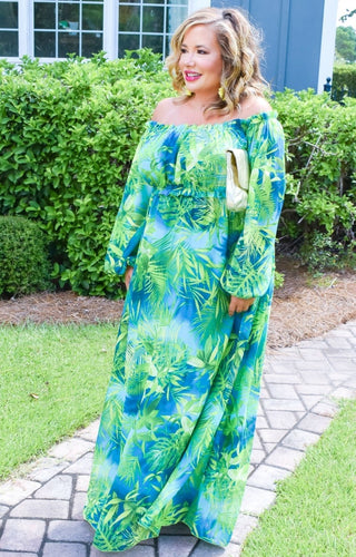 Cabana Bound Tropical Print Maxi Dress