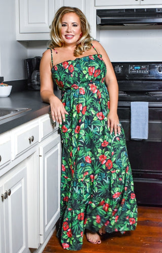 Think Of Me Floral Maxi Dress - Black