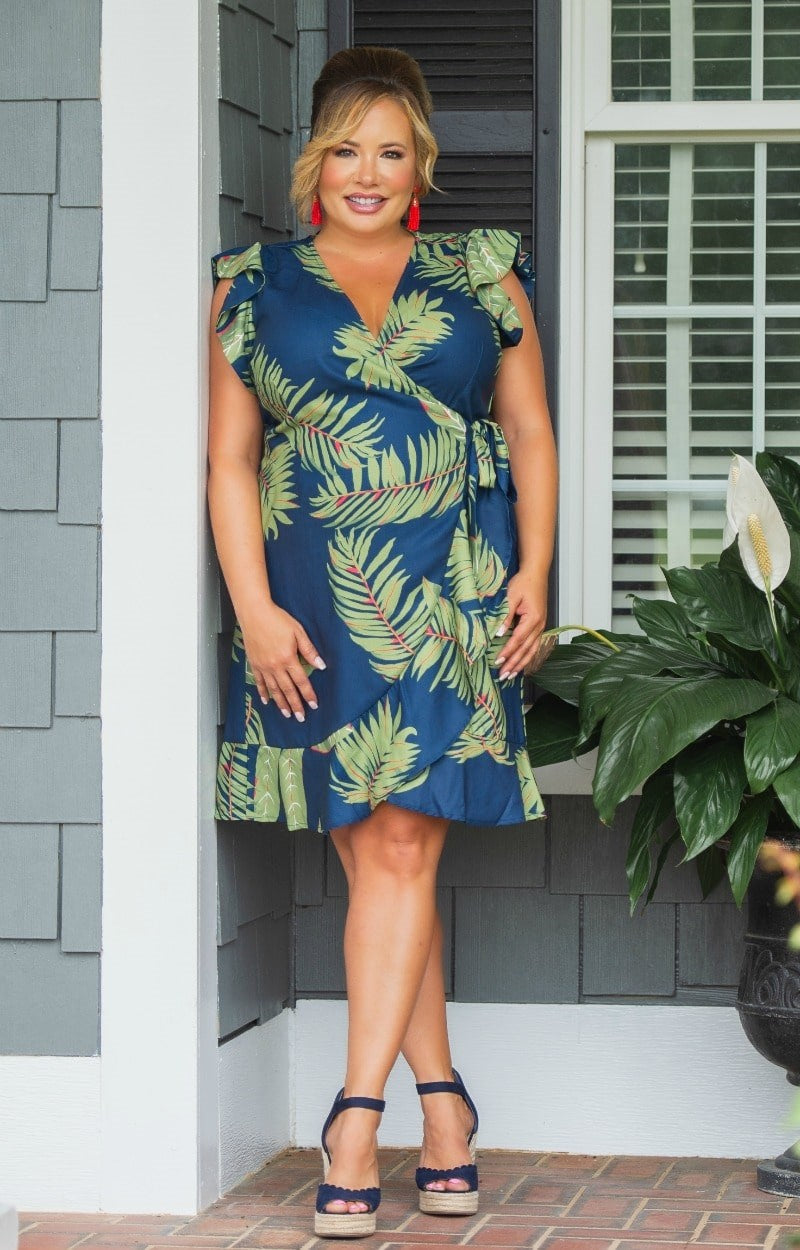 Load image into Gallery viewer, Tropical Escape Wrap Dress - Navy