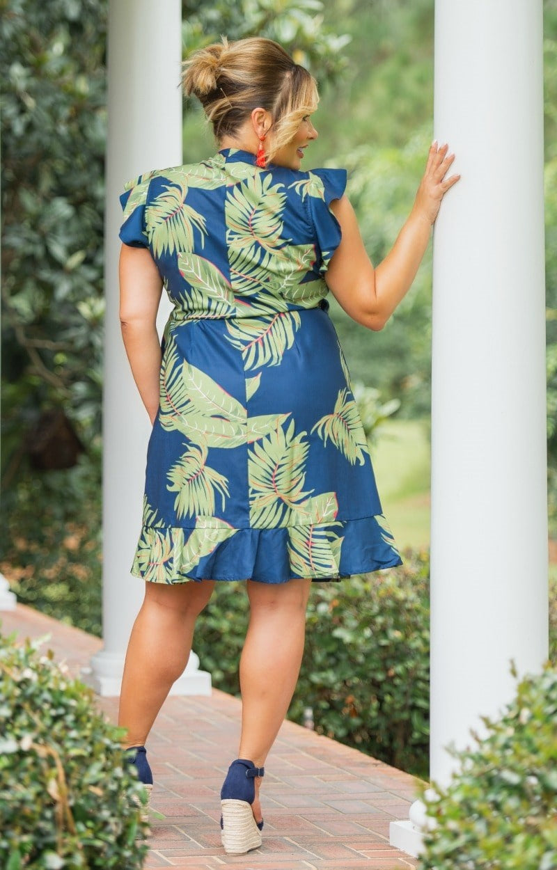 Tropical Escape Wrap Dress - Navy