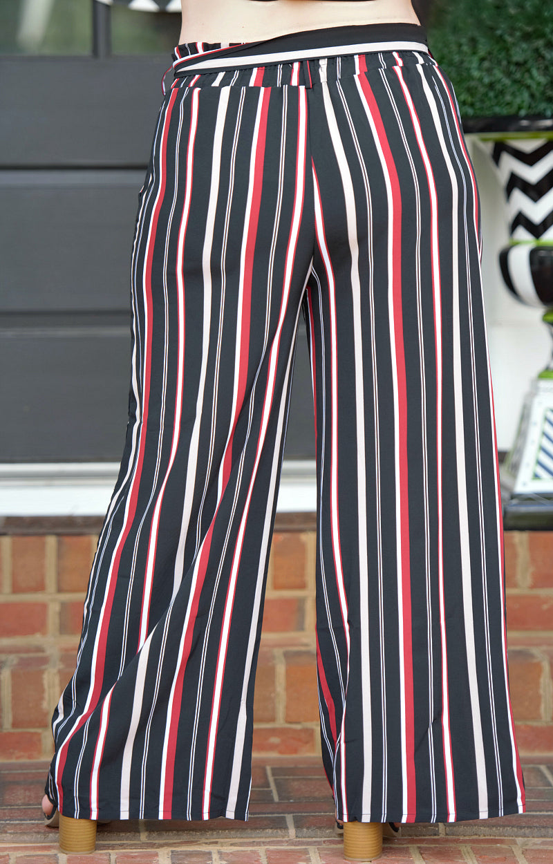 Load image into Gallery viewer, Hold Me Down Striped Pants - Black