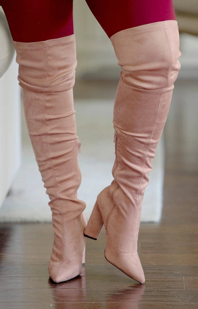 Daily Duties Over The Knee Boots - Mauve
