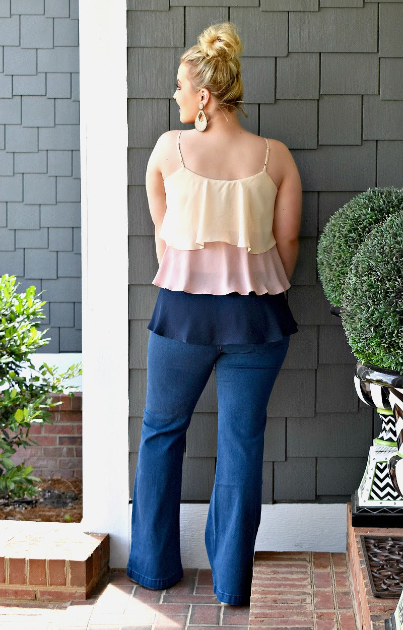 Enough For Me Colorblock Top - Blush/Navy