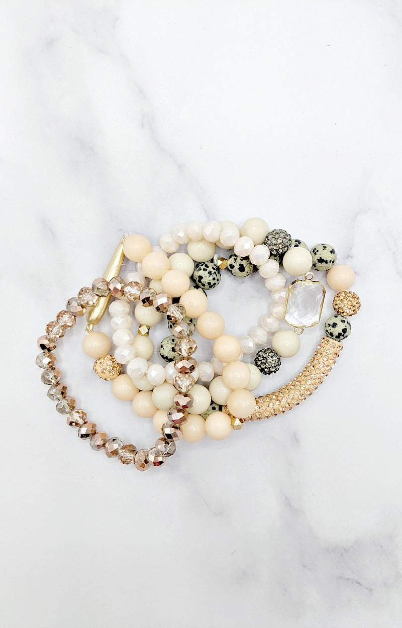Load image into Gallery viewer, Yours Truly Bracelet Set - Peach/Cream