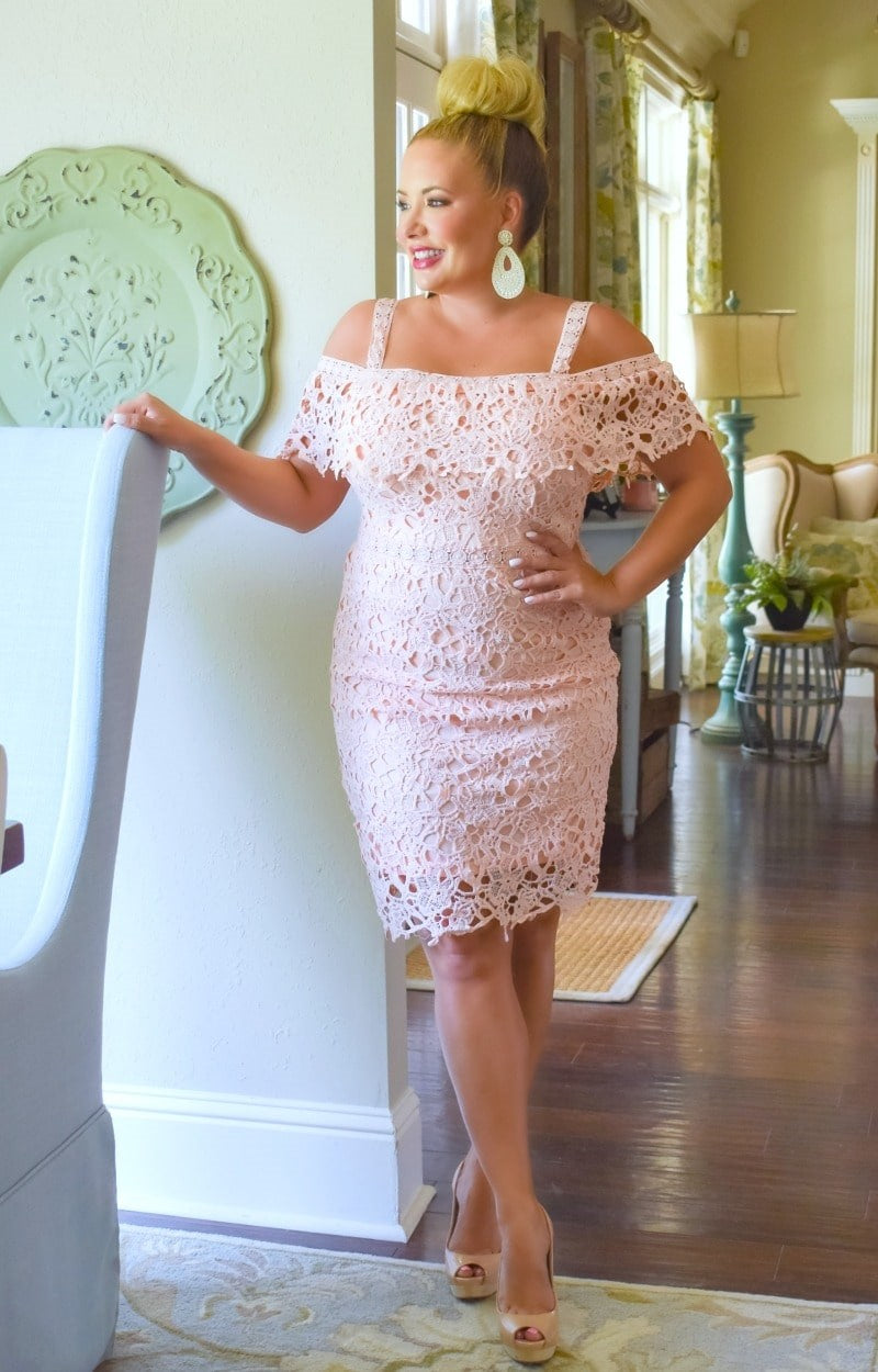 Music To My Ears Lace Dress - Blush