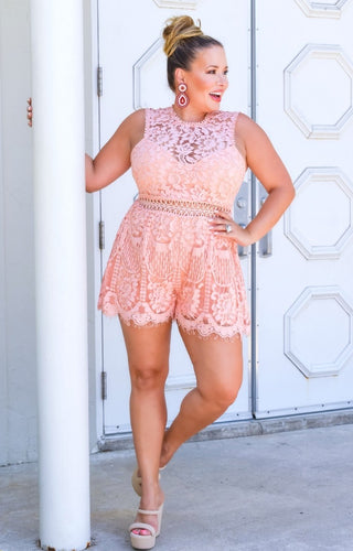 Penthouse Party Lace Romper - Coral