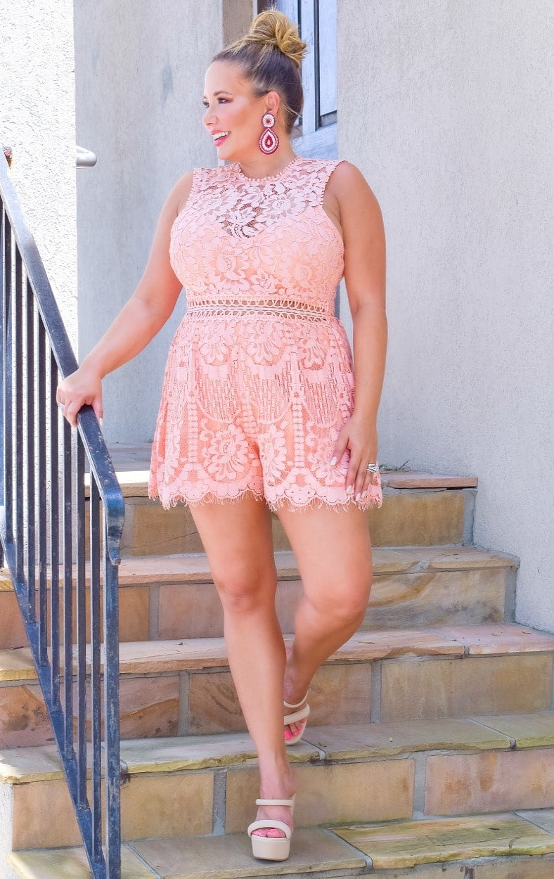 Load image into Gallery viewer, Penthouse Party Lace Romper - Coral