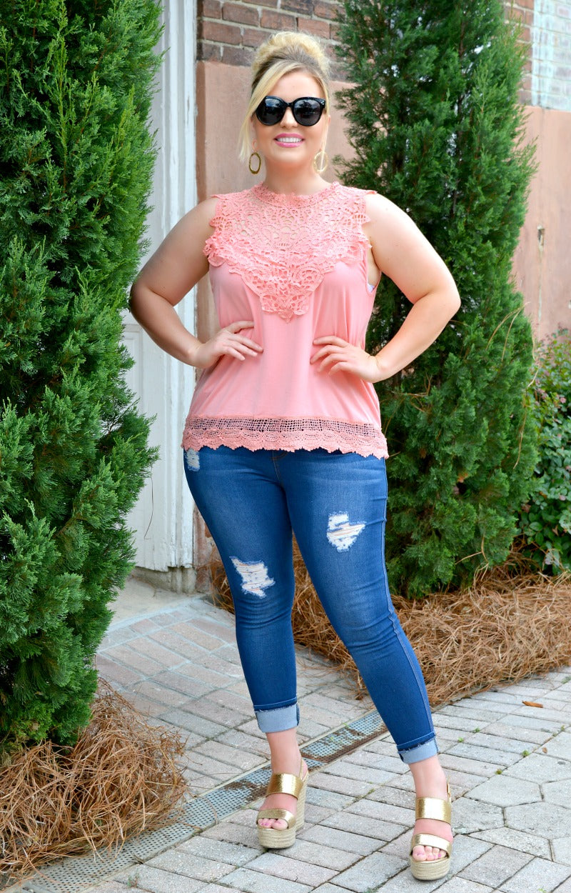 Mad About You Lace Top - Peach