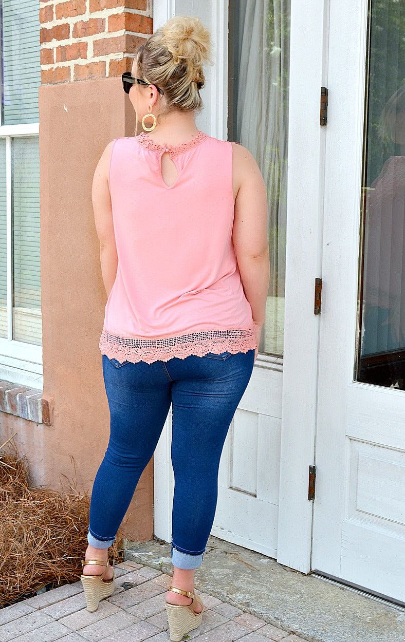 Load image into Gallery viewer, Mad About You Lace Top - Peach