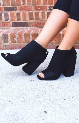 I'm Your Type Peep Toe Booties - Black