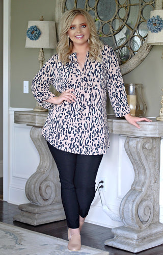 On The Prowl Leopard Print Top - Blush