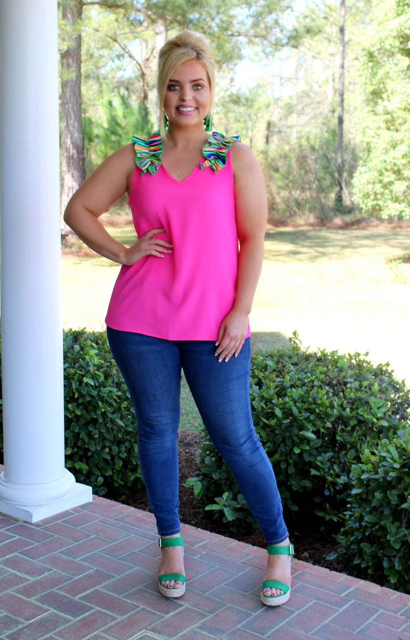 Outside The Lines Top - Hot Pink/Multi
