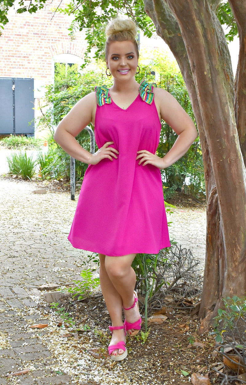 Taking Over Dress - Hot Pink/Multi