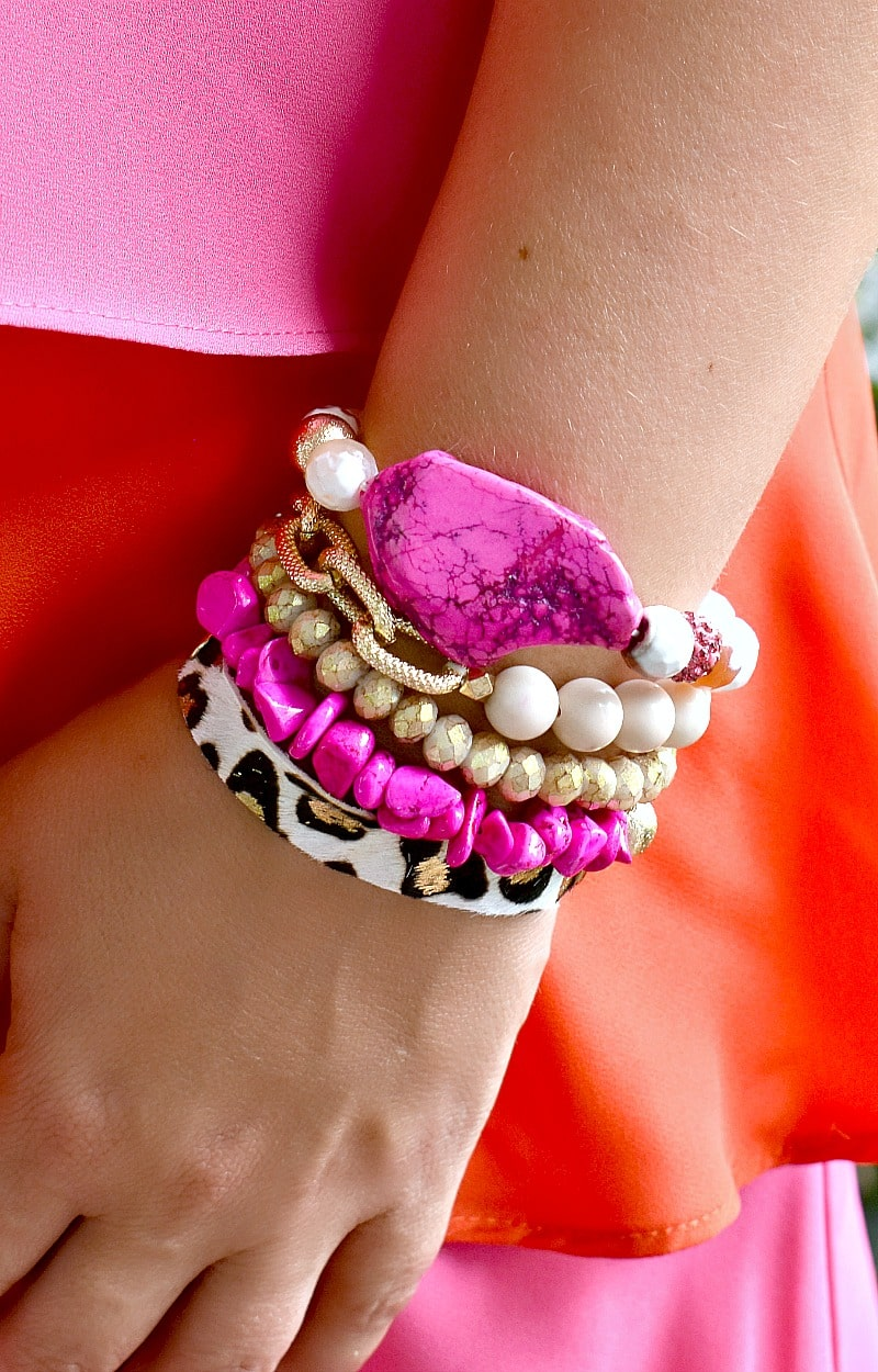 Load image into Gallery viewer, Yours Truly Bracelet Set - Pink/Leopard