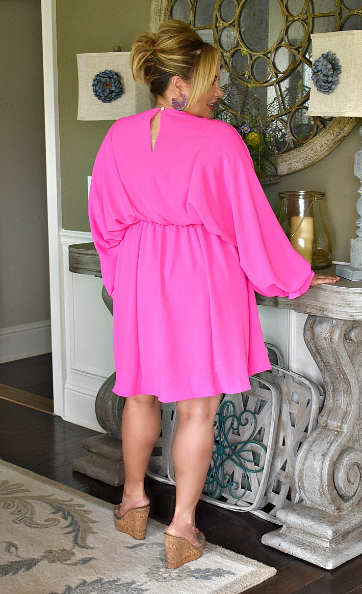 Save The Drama Dress - Hot Pink
