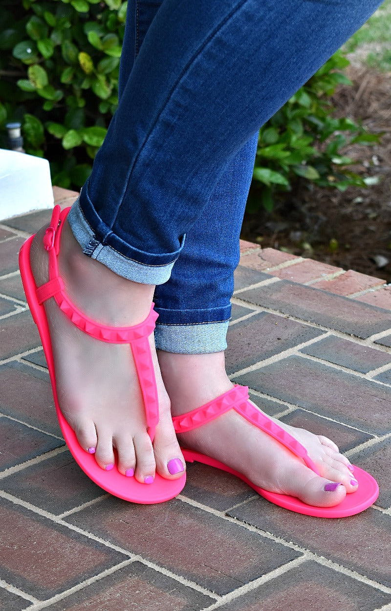 Load image into Gallery viewer, What A Stud Sandals - Hot Pink