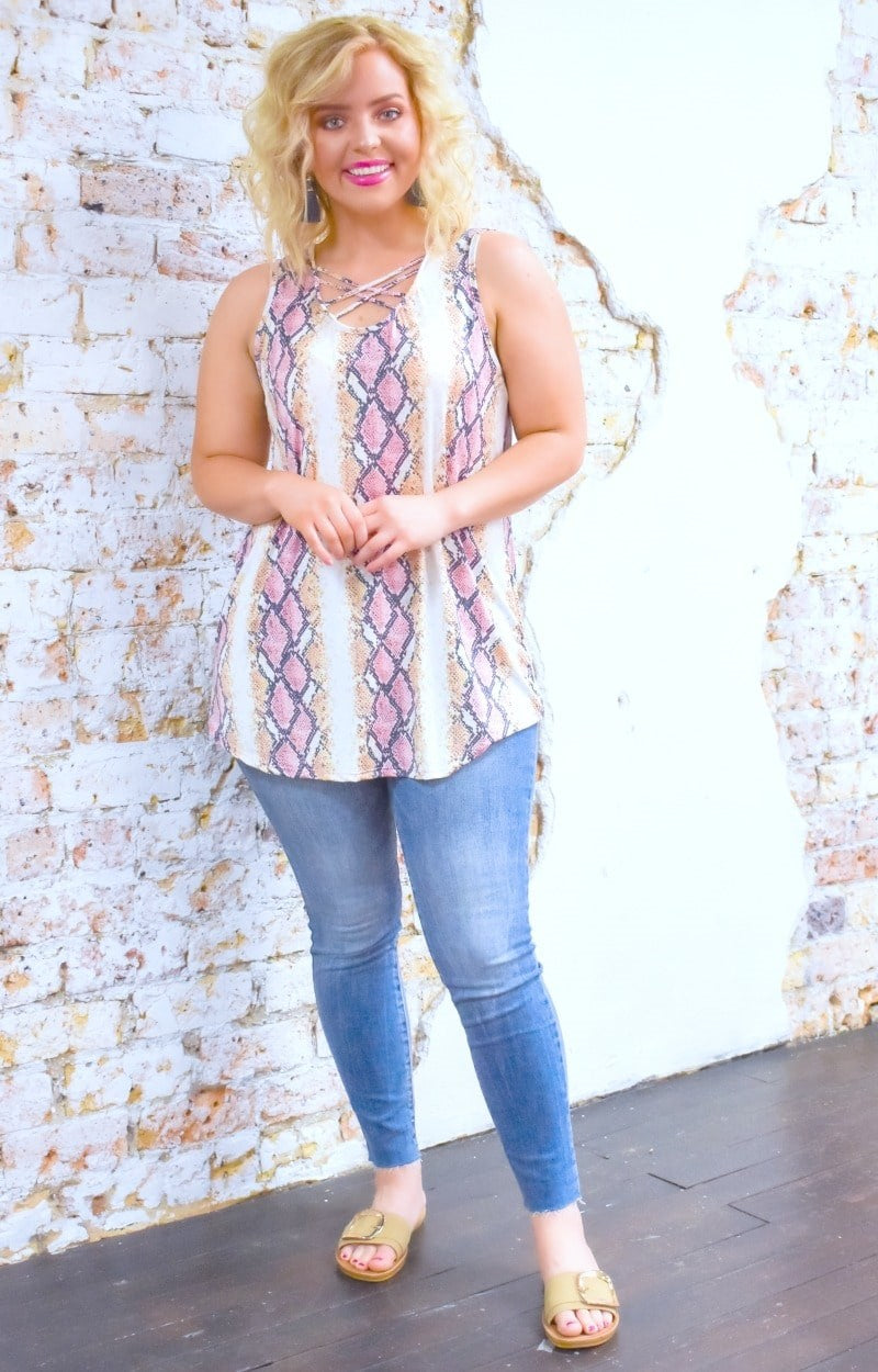 Load image into Gallery viewer, Don't Let Me Go Snake Print Top - Pink