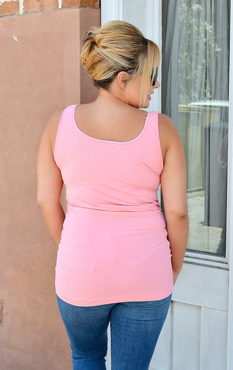 So Very Luxe Wide Strap Cami - Peach