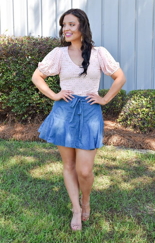 Can't Stop This Eyelet Top - Pink