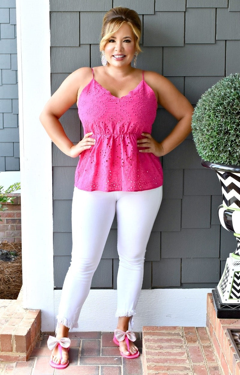 Whenever You're Ready Eyelet Top - Fuchsia