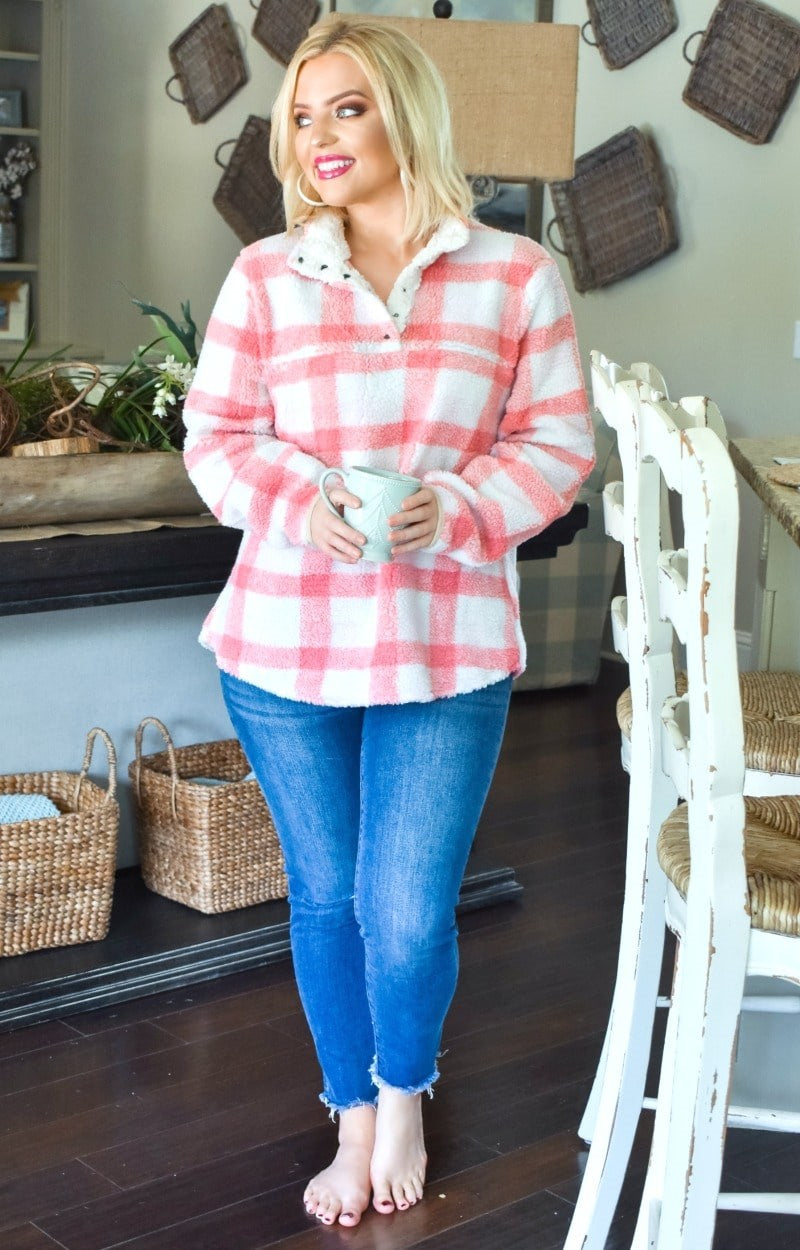 Promise Me This Plaid Pullover - Blush