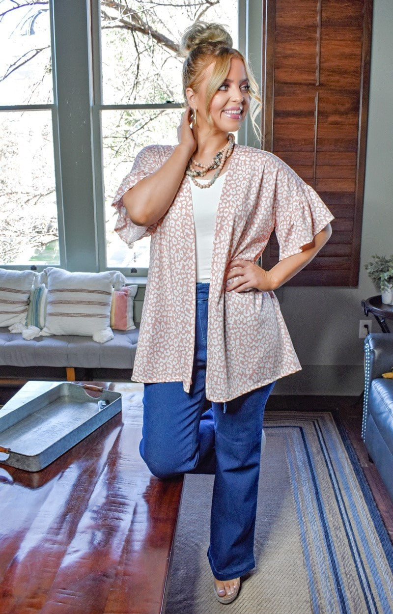 Easy To Spot Leopard Print Cardigan - Blush