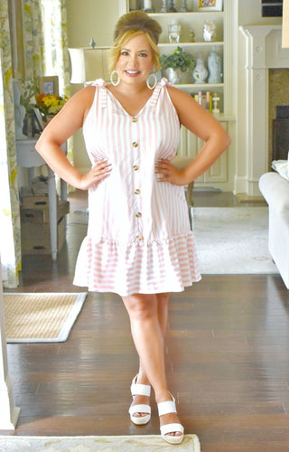 First Of Many Striped Dress - Pink/White