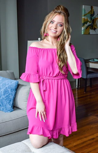 Only One Way Dress - Hot Pink