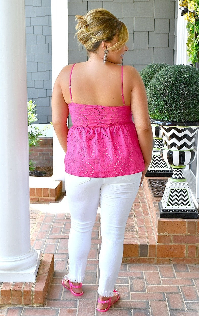 Load image into Gallery viewer, Whenever You're Ready Eyelet Top - Fuchsia