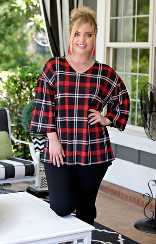 Truly Special Plaid Top - Black/Red