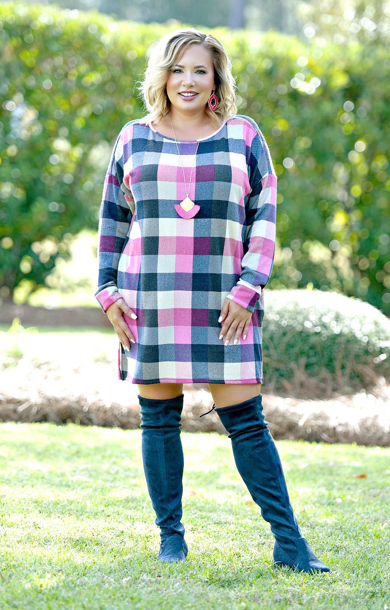 New Moves Plaid Dress/Tunic - Navy/Pink