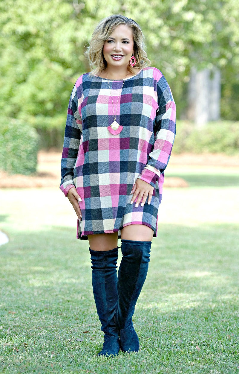 Load image into Gallery viewer, New Moves Plaid Dress/Tunic - Navy/Pink