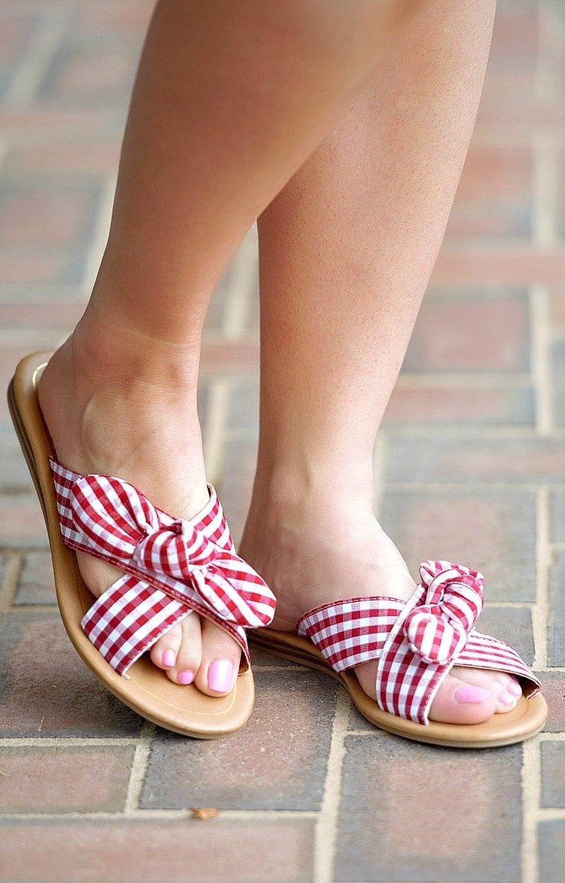 Load image into Gallery viewer, Until Further Notice Gingham Sandal - Red/White