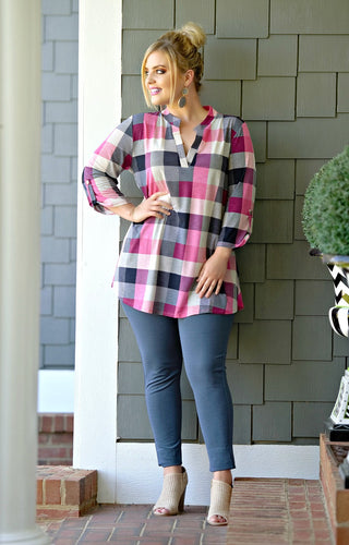 In Your Embrace Plaid Top - Navy/Pink