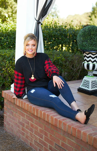 Just With Me Buffalo Plaid Top - Black