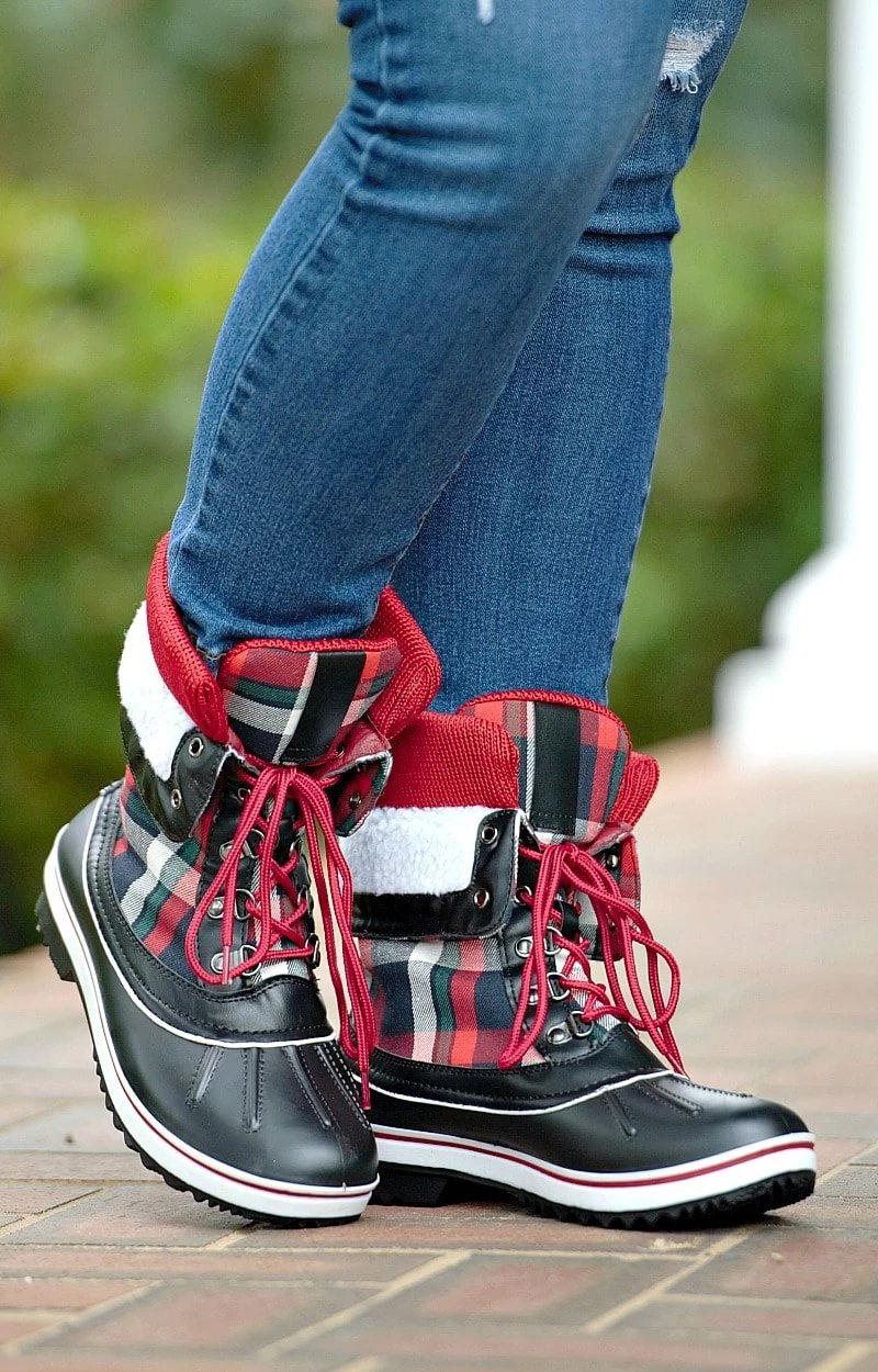 Load image into Gallery viewer, Back & Forth Plaid Duck Boots - Black/Red