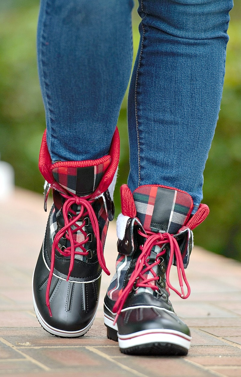 Back & Forth Plaid Duck Boots - Black/Red
