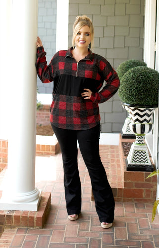 Eye Catcher Buffalo Plaid Pullover - Red/Black