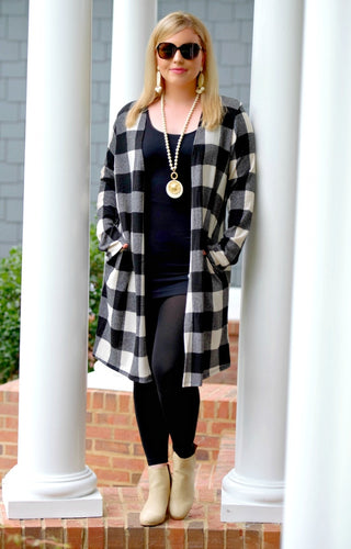 Only Want You Plaid Cardigan - Black/Ivory