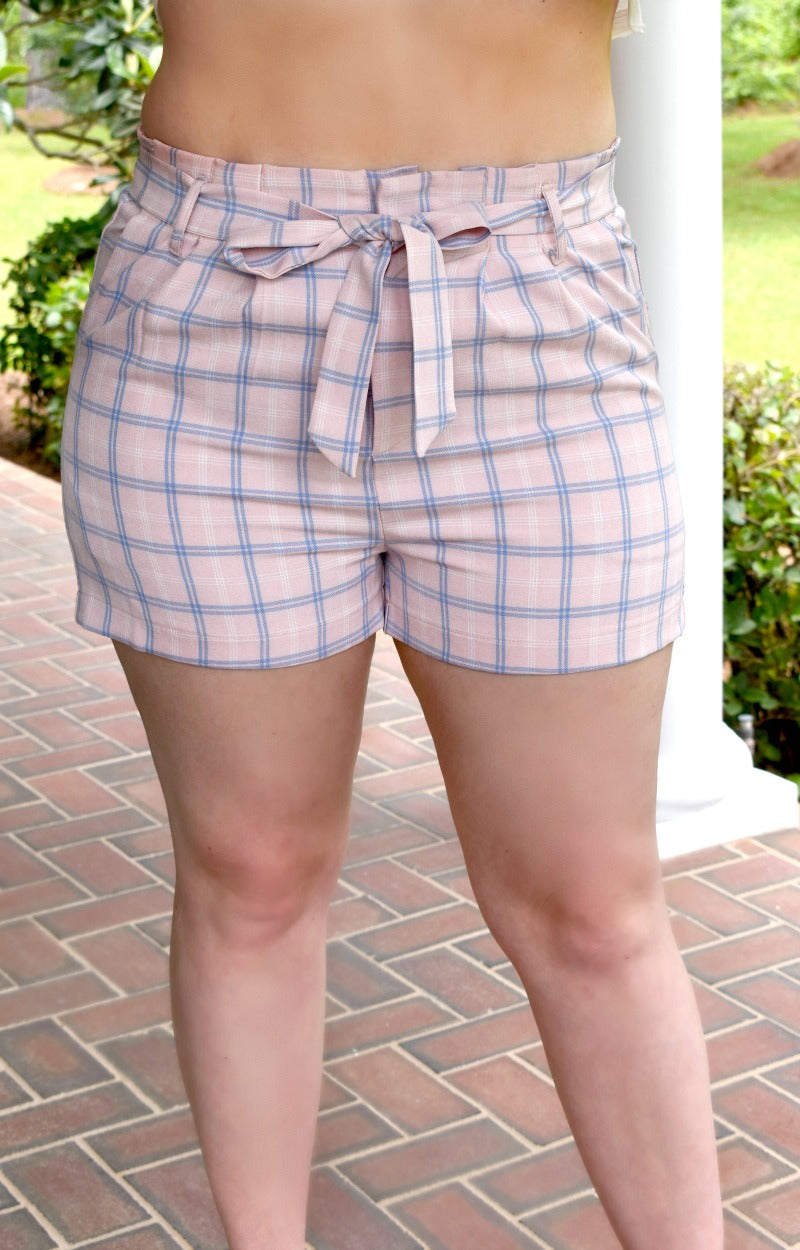 Load image into Gallery viewer, Far Too Good Plaid Shorts - Baby Pink