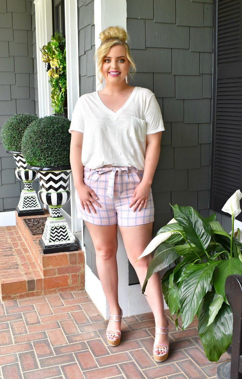 Far Too Good Plaid Shorts - Baby Pink