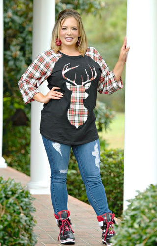 Warming My Heart Plaid Deer Top - Black